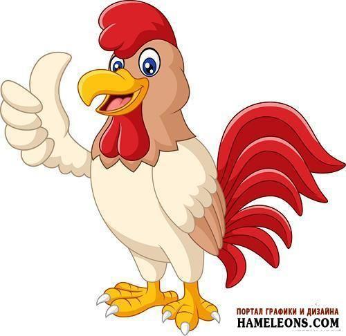 Яркий забавный петух, Год Петуха - иллюстрации в векторе | Cartoon rooster