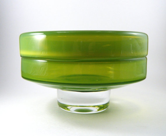 Modernist Chartreuse Green Cased Incalmo Glass by templeofvintage, $85.00