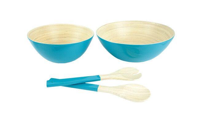 Set di 2 insalatiere + posate da insalata - Blu - bambù  30 x 30 x 11,9 cm