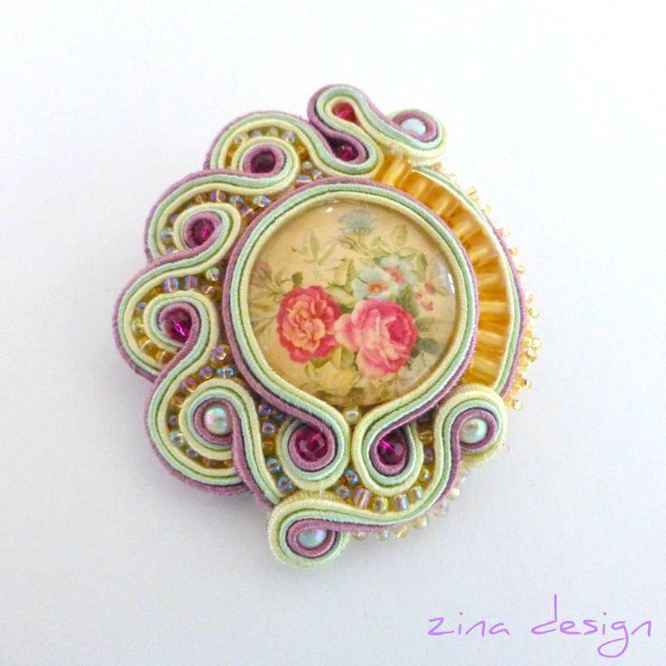 Vintage Rose Soutache Brooch