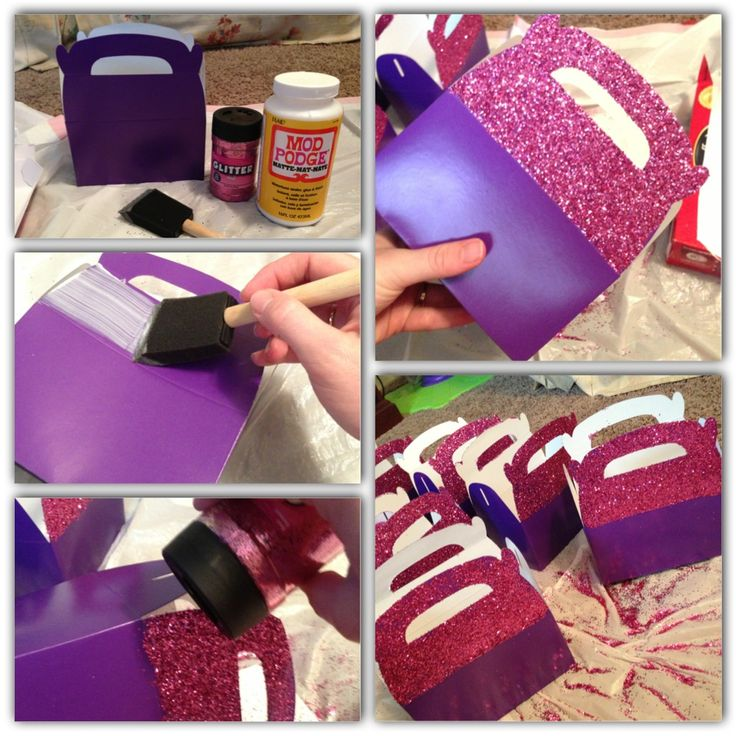 DIY Doc McStuffins party favor boxes. Boxes are from oriental trading, mod podge, and glitter.