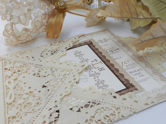 Our beautiful, rustic wedding invitations. I love these! And this shop was such a pleasure to work with! Lace Vintage Rustic Wedding Invitations  by MyMemorableDesigns