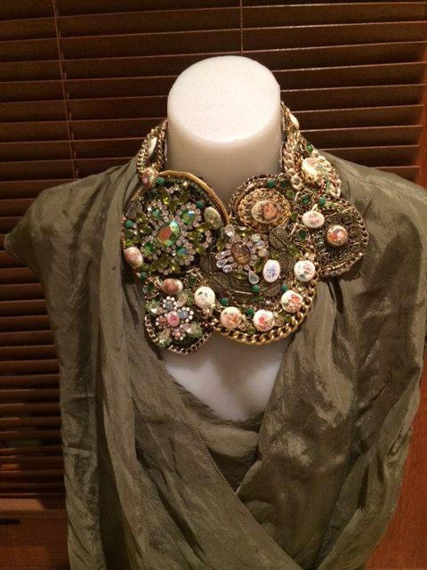 NAN'S GARDEN gold, bronze and antique green statement bib collage collar necklace