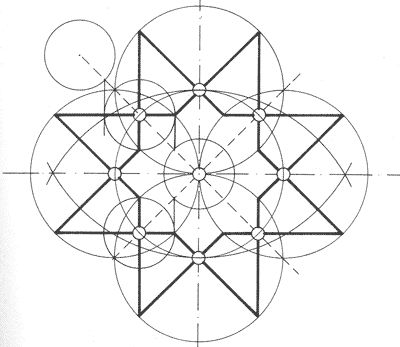 "Diagram of pattern construction: ""More complex patterns can be developed using the khatam or its variant as a centerpiece. The following diagram shows how a pattern that employs a symmetry of eight is built around a central khatam using a grid of four circles around a central circle."""