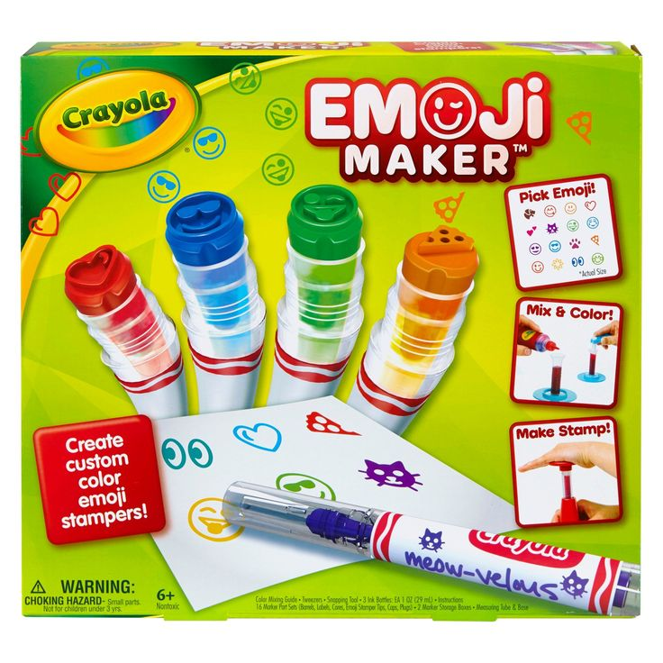 Create your own custom color emoji stampers with the Crayola Emoji Marker Maker! Simply mix, measure and click! Comes with everything you need to make 16 custom color markers for creating and sharing your unique emoji messages with friends. Includes Marker Snapping Tool, 3 Ink Bottles (blue, red, yellow), 2 Marker Storage Boxes, Measuring Tube and Base, Mixing Chart, Tweezers, 16 Emoji Marker Part Sets and Instructions.