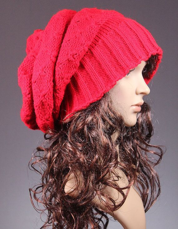 3b3212053ed0e2 Slouchy Hat Slouchy Beanie Red Slouchy Hat Winter Knit Hat | Style ...