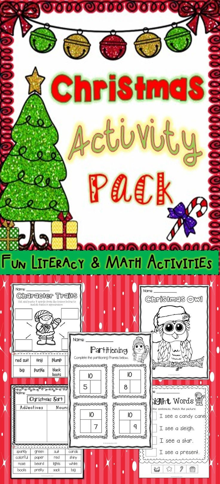 FUN - CHRISTMAS ACTIVITY PACK! A variety of engaging math and literacy activities, perfect to undertake in the festive season. Coloring, word sorting, partitioning, patterns, tens frames, cut and paste activities & lots more! Come check it out. Great value.