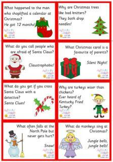 How many ways can you enjoy a good Christmas joke with the kids? Here you can read them online (scroll down the page), print them out for advent calendars or lunch boxes or party games - or just a fun little pick-me-up to find on the breakfast table each morning! Weve also got a brand new collection of lovely joke bookmarks which will perk up a reading book nicely...