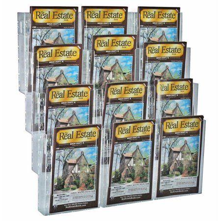 Azar 252323 12-Pocket Bifold Wall Mount Brochure Holder