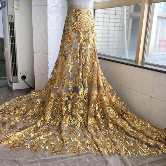 Vintage bridal Sequined Embroidery Lace Fabric Trimmings Materials Lace Mesh DIY Dance Costume Wedding Dress 59 inch Width Sold by the yard