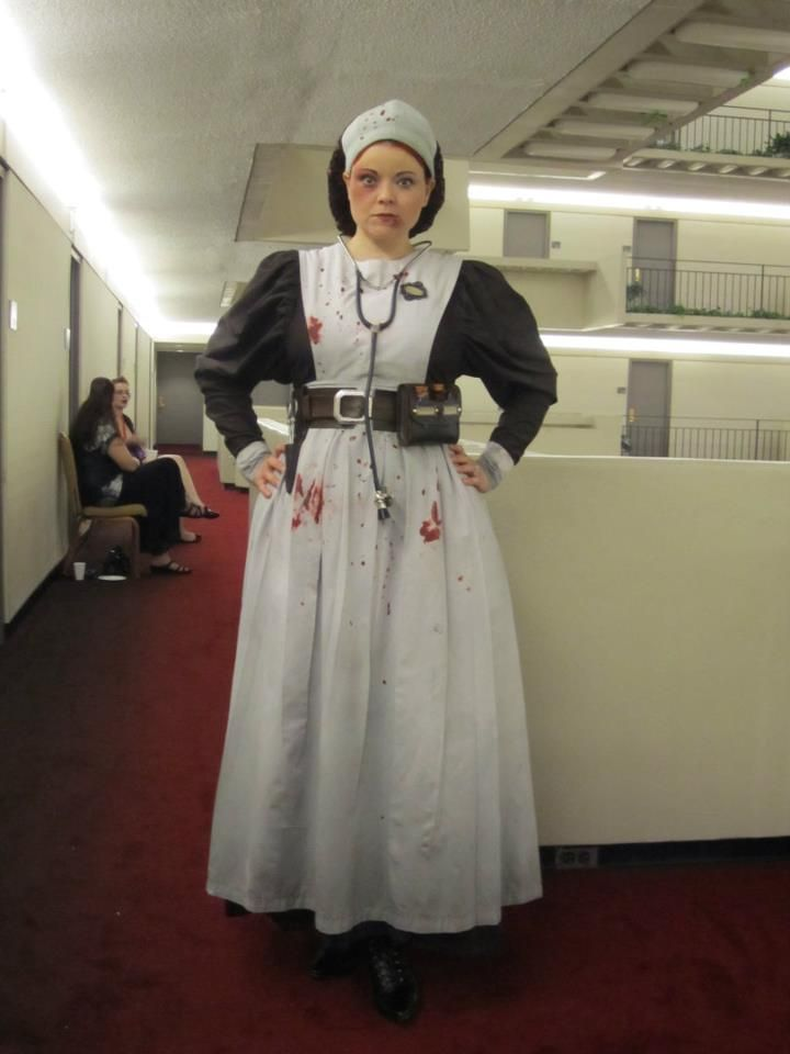 Victorian Asylum Nurse I made the dress from several historical patterns all put together. The belt out of some leather & a buckle. Found old bottles & made cork stoppers. Tea stained paper for the bottle labels. Of course some fake blood & bruising for effect :)