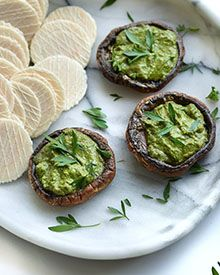 Baked Mushroom with Vegan Pesto Dip Served with Quinoa Wafers