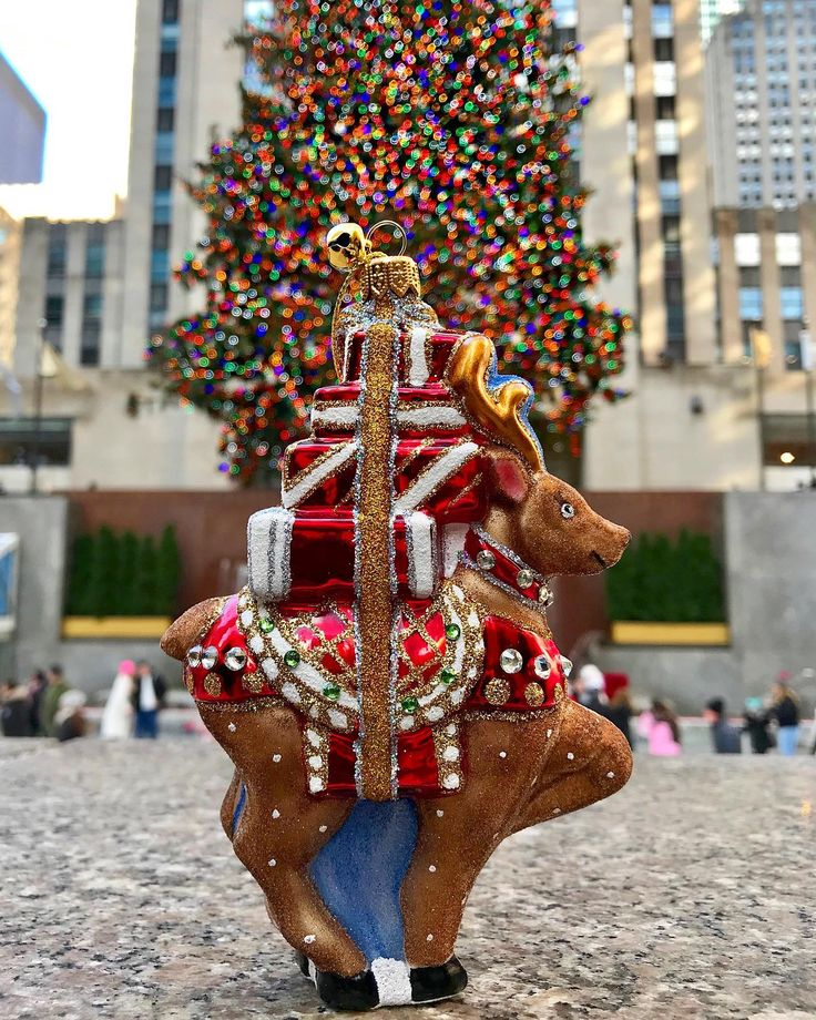 Our New Reindeer, Ronaldo, Visits The Tree At Rockefeller