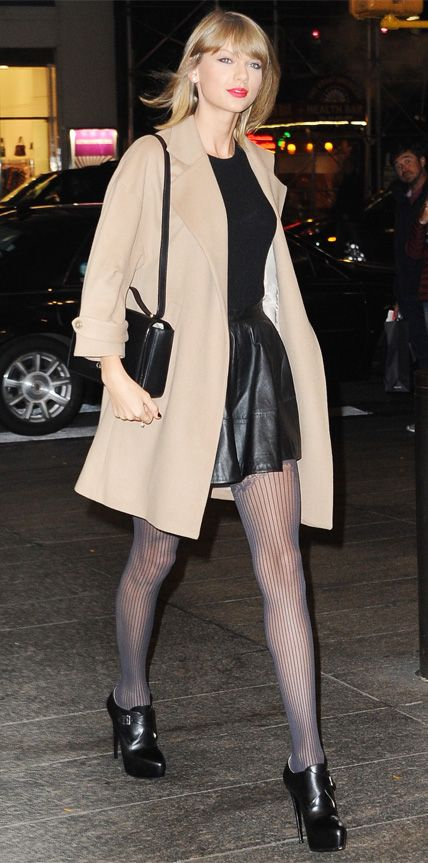 Chic Celebrity Looks That Have Us Saying Yes to Tights - Taylor Swift from #InStyle