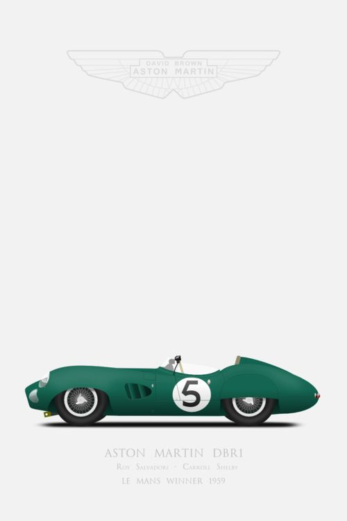 1959 #Aston Martin #DBR1 Carroll #Shelby and Roy #Salvadori winning car N°5 from 1959 Le Mans race. #lemans #inkscape