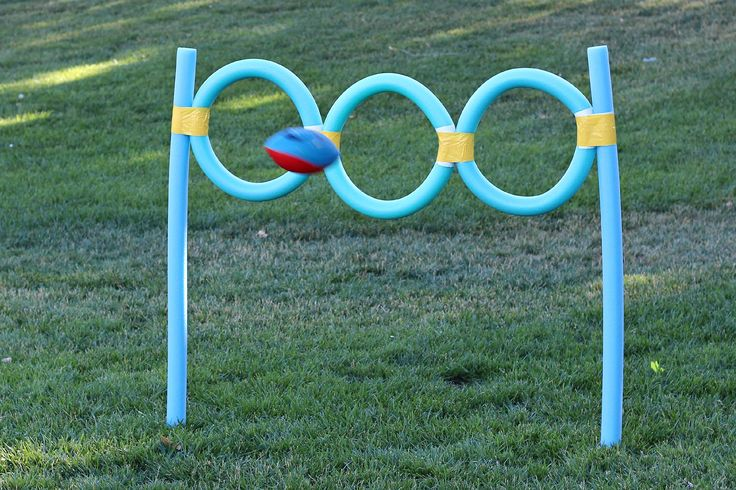 DIY Outdoor Games for Kids - Pool Noodle Football Toss