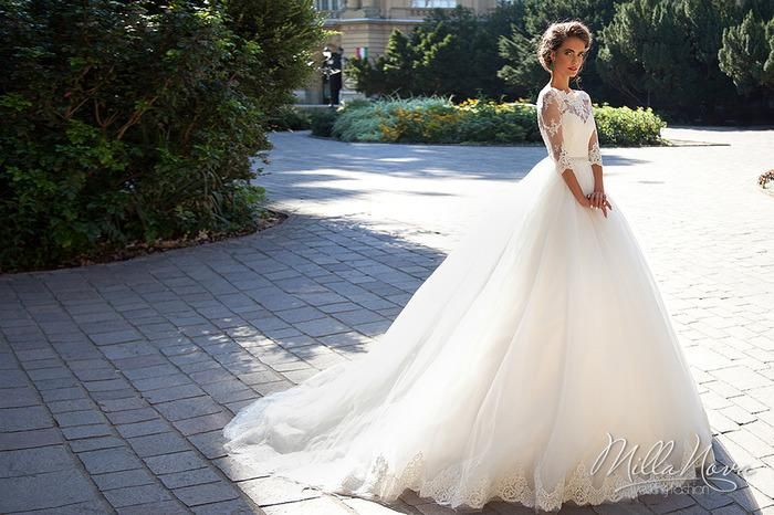 2016 Lace A Line Wedding Dresses Illusion Long Sleeve Hollow Back Bridal Gowns Court Train Beaded Sash Wedding Gowns Vestido De Novia Debenhams Wedding Dresses Designer Gowns From Beautydoor, $147.22| Dhgate.Com