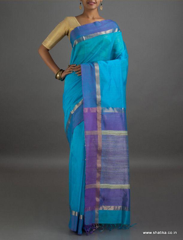 Anushka Stripes Pallu #MaheshwariSilkCottonSaree