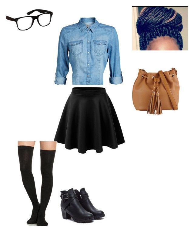 tie front denim top, black skater skirt, black knee high socks, brown bag, black ankle boots, bun, nerd glasses
