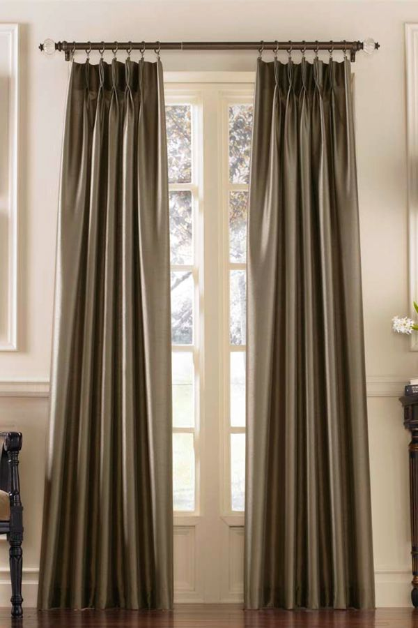 Marquee Flared Faux Silk Pinch Pleat Curtain Panel Pleated Curtains Curtains Pinch Pleat Curtains