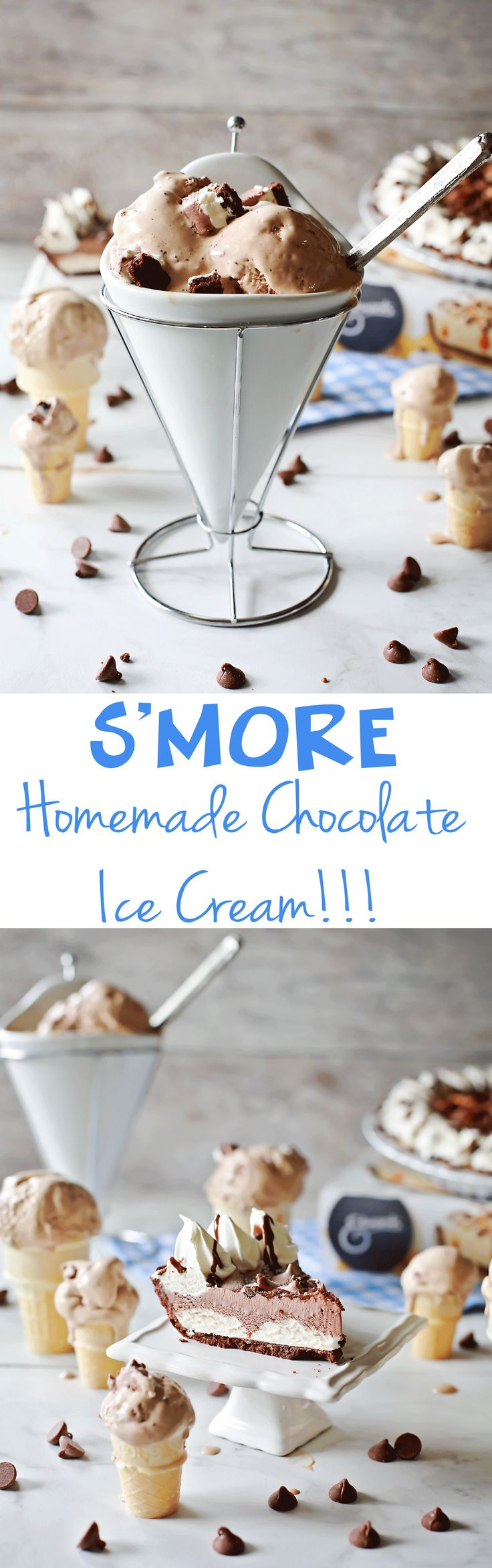 S'more homemade Chocolate Ice Cream recipe by Flirting with Flavor using Edwards S'mores Pies. #ad #collectivebias #SameTasteNewLook