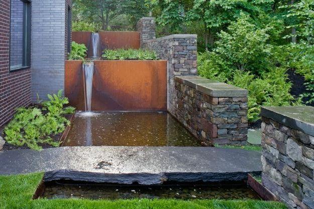 Luxury Backyard Features : Luxury landscape idea, water element, runnel, fountain, walkway