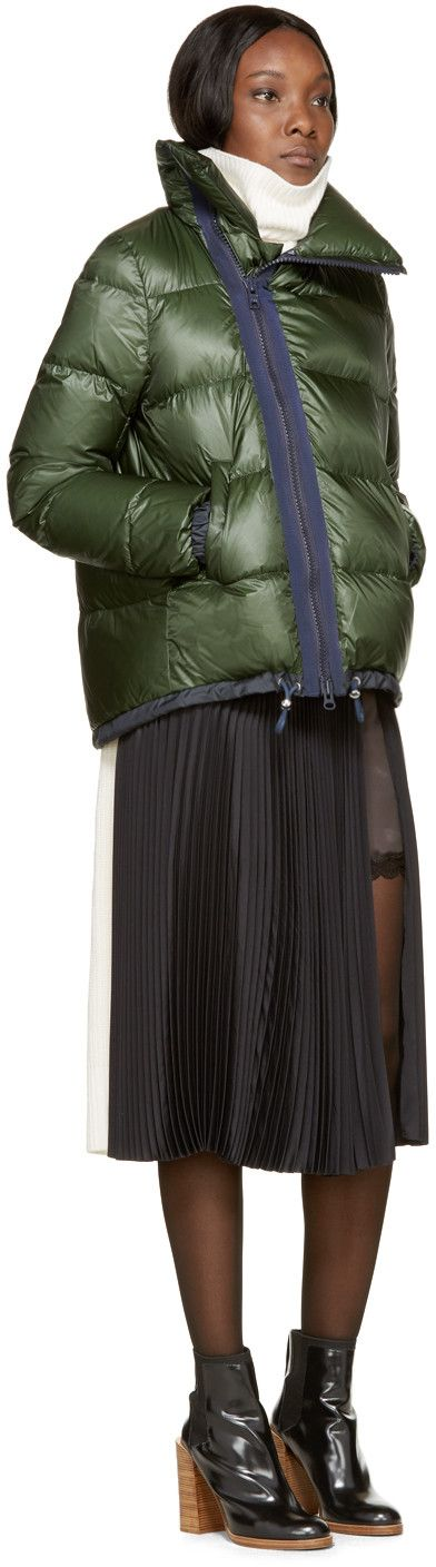 Sacai Luck Green & Navy Down Stand Collar Jacket