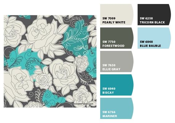 Teal and Gray - Sherwin Williams Colour Palette (add in avacado, and I think we have a winning palette)
