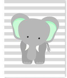Elephant Nursery Art, Gray and Mint Elephant Print, Mint Nursery, Elephant with Balloons, Gender Neutral Nursery Decor, Baby Girl, Baby Boy by SweetPeaNurseryArt on Etsy