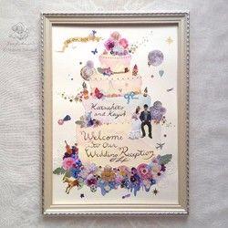 結婚式で大切なゲストを華やかにお迎えする ウェディングケーキのウェルカムボード。ケーキのイラストの上に一つ一つ丁寧に切り抜いたお花やパール風のパーツを重ね、ガーリーで少し立体感のある仕上がりです。 所々にラメやスパンコール、星、ラインストーンを散りばめ、キラッと輝きます。ケーキの上に仲良く並んで座っている新郎新婦さまのドレスとタキシードは、 写真の上から直接絵の具でペイントしています。お二人の共通の趣味である海外旅行として地球儀、飛行機、二つのトランクのイラストを、 それぞれの趣味にはヴァイオリン、サッカーボールのイラストを散りばめ、 お二人らしさも取り入れました。※現在2015年3月納品分までのオーダーメイドの受付はストップしております。【サイズ】 A3額アイボリー(用紙寸法297×420㎜)、ガラス板 裏に壁掛け用の紐があります。【使用素材】 写真用紙、ケナフ紙、アクリル絵の具、水彩、 レース、布花、スパンコール、ラメ、スワロフスキーのラインストーンなど◆ブログにもウェルカムボードの紹介をしています。