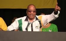 President Jacob Zuma leads delegates in song as he closes NGC. Picture: Kgothatso Mogale/EWN