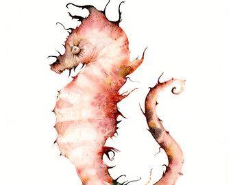 Acquerello Seahorse, cavalluccio marino arte stampa-Coralli - oceano grande stampa, nautica, arredamento