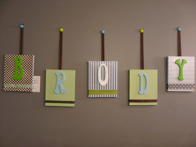 DIY room decor - baby name cards, easy to make, cheap to do and we think these look amazing : )