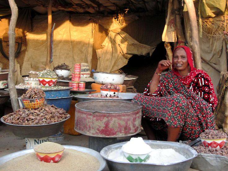 A market woman at Kalait between Abeche and Fada in northeastern Chad, Central Africa.