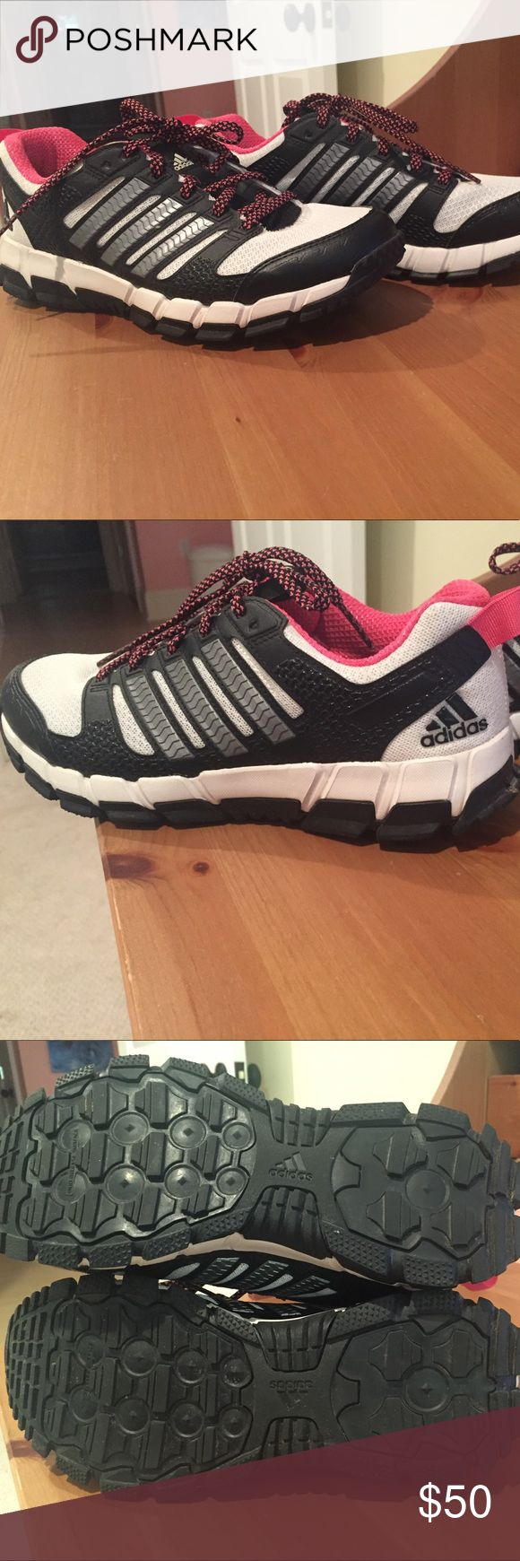 Adidas running shoes Basically brand new adidas running shoes. Pink, black and white. Size 7.5 adidas Shoes Athletic Shoes