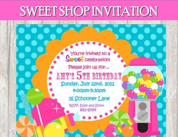 SWEET SHOPPE- INVITATION - Sweet Shop Invite - Candyland - Sweet