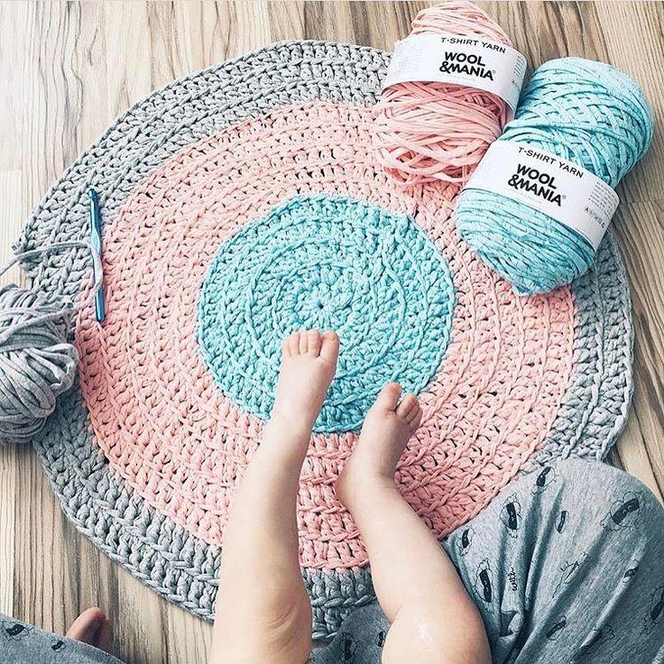 Коврик крючком из трикотажной пряжи. Wool and Mania вязание коврик
