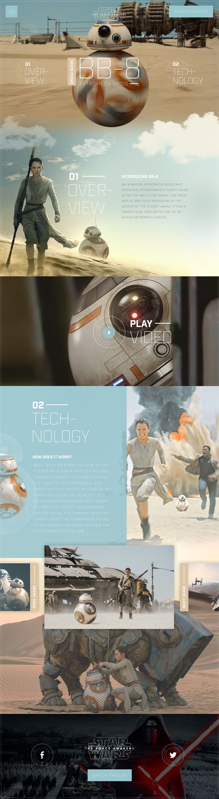 Star Wars BB-8 Droid Guide. Website UI UX Design by Green Chameleon