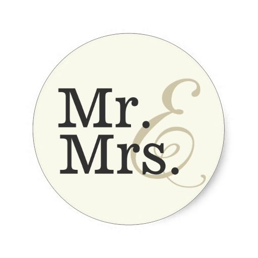 Mr and mrs classy ivory white wedding favor classic round sticker