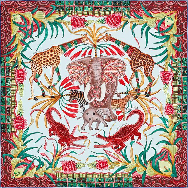 6255ad4fcb3 Шелковые платки Hermès с рисунками африканского художника