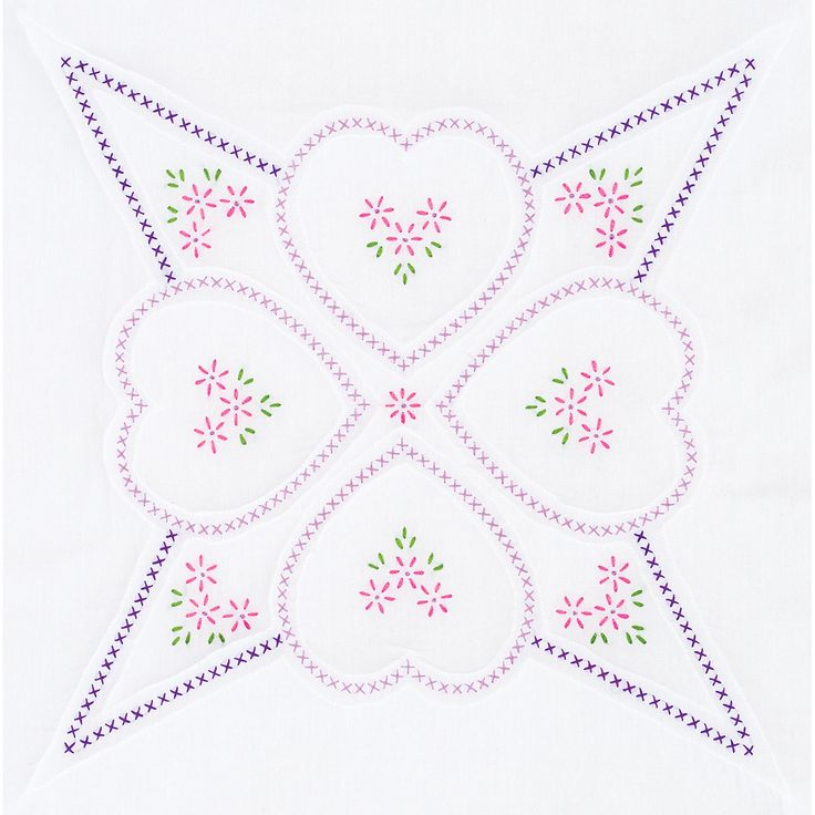 Jack Dempsey-Stamped White Quilt Blocks. Create a beautiful quilt top using this great kit. It consists of individual squares to stitch and join together to form a quilt top. The stitching designs hav