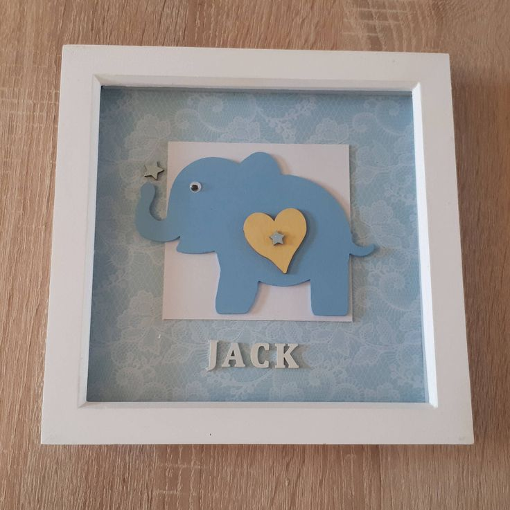 "Personalised Hand Painted and Decorated Elephant and Name - 8"" x 8"" Box Frame - Nursery/New Baby/Occasion/Gift/Keepsake - F10 by ArtyCraftyMama on Etsy"