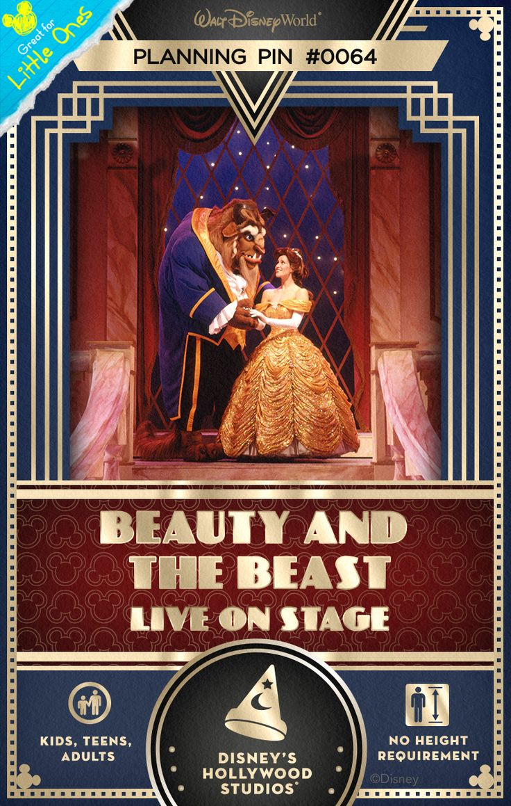 Walt Disney World Planning Pins: Be swept into the romantic fairy tale of the Beast who could only be saved by love in this lavish Broadway-style musical! #BeautyAndTheBeast