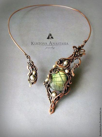 "Колье wire wrap ""Загадочный цветок"" из меди и серебра #wirewrap #handmade #jewelry"