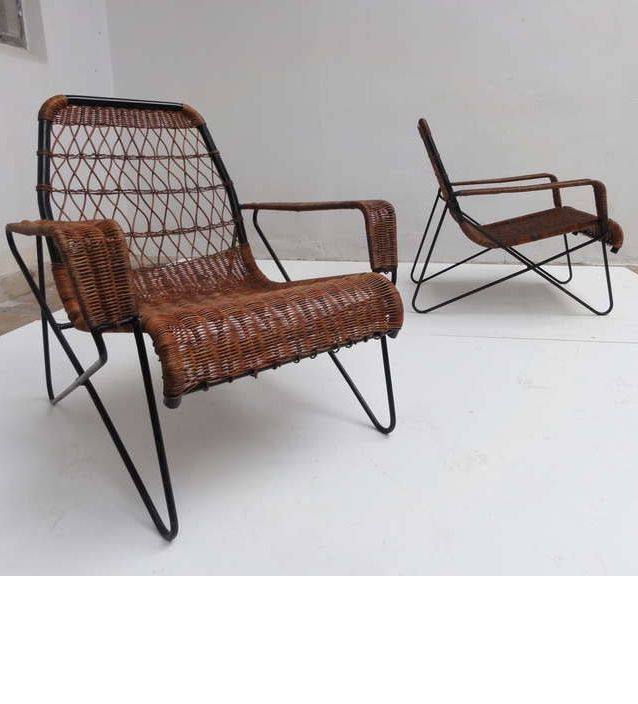 Raoul Guys Wicker And Wrought Iron Lounge Chairs For Airborne 1955 Chaired Furniture