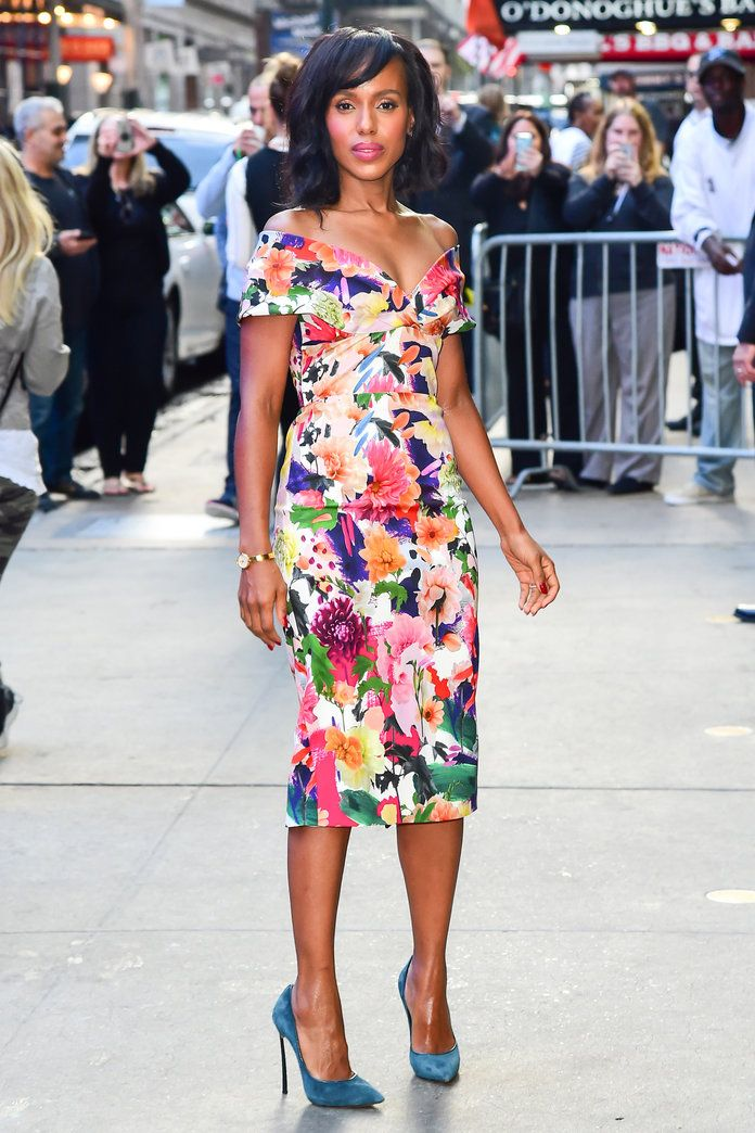 KERRY WASHINGTON GMA GOOD MORNING AMERICA SCANDAL ABC OLIVIA POPE CUSHNIE ET OCHS SS18 SPRING SUMMER 2018 SPRING/SUMMER 18 RTW FLORAL SURREALIST GOWN DRESS OFF SHOULDER CASADEI MOVADO JOSEPH CASSELL NYC NEW YORK GMA GOOD MORNING AMERICA
