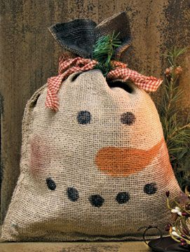 Add a unique Snowman Burlap Feed Sack to your Christmas/Winter decor. Made in the USA!