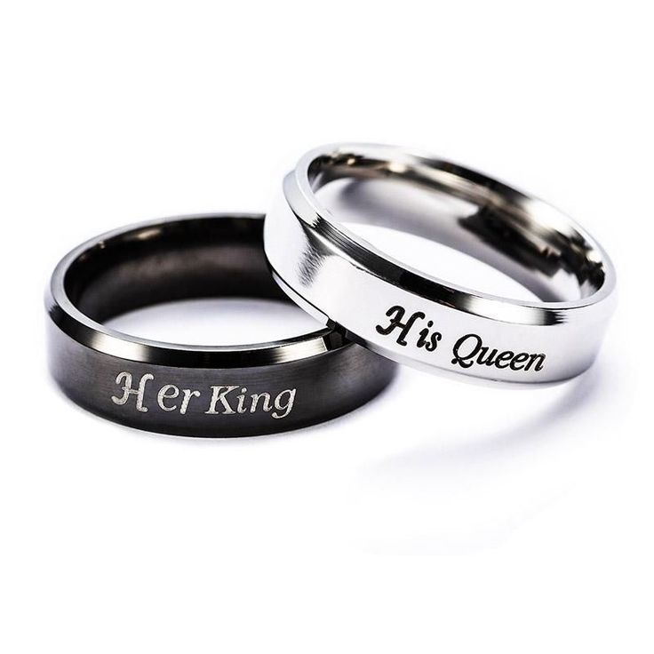 Christmas Gifts For Women and Men - Her King and His Queen Stainless Steel Couple Promise Rings - FREE WORLD SHIPPING! #boyfriendbirthdaygifts