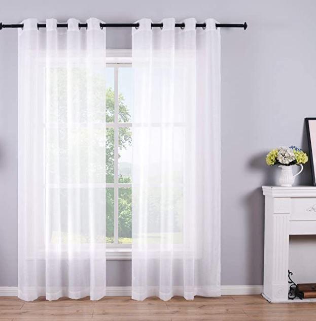 White Sheer Curtains 84 Inches Long Set 2 Panels Grommet Pair Faux Linen Semi Transparent Drapes In 2020 White Sheer Curtains Gray Sheer Curtains Sheer Curtains