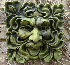 GREEN MAN SQUARE GREENMAN GARDEN WALL PLAQUE PAGAN Frost Proof Stone